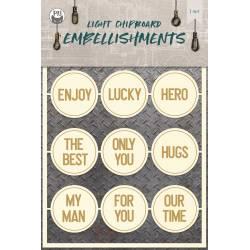 Light chipboard embellishments Free Spirit 06, 12pcs