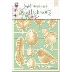 Light chipboard embellishments The Four Seasons - Spring 02, 9pcs