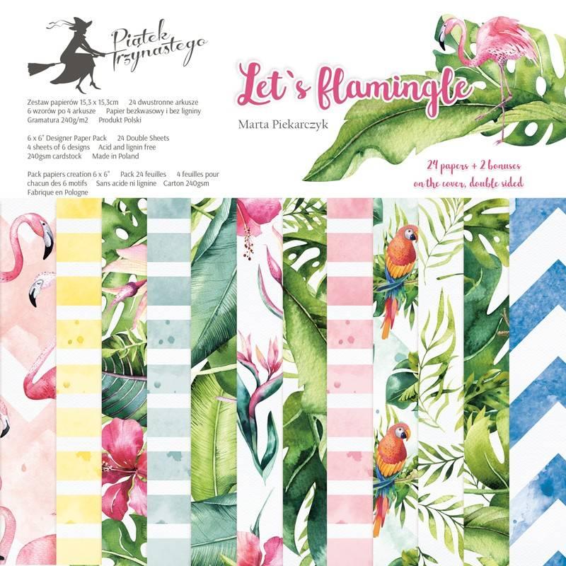 "Paper pad Let's flamingle, 6x6"""