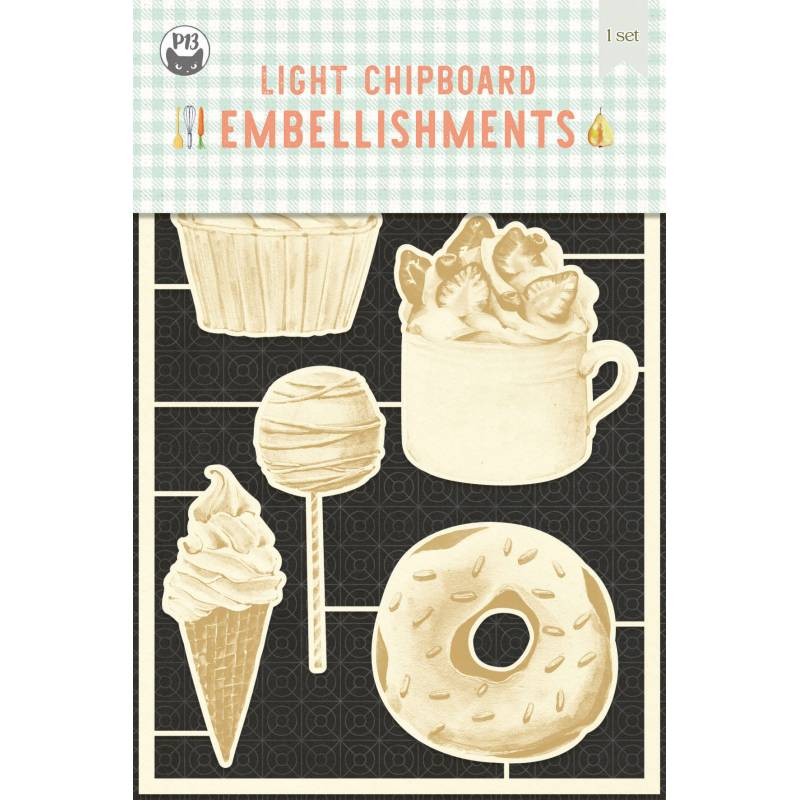 Light chipboard embellishments Around the table 02, 6pcs