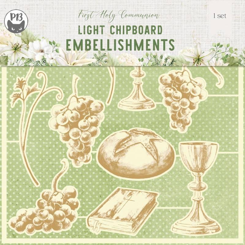"Light chipboard embellishments First Holy Communion, 6x6"", 11pcs"