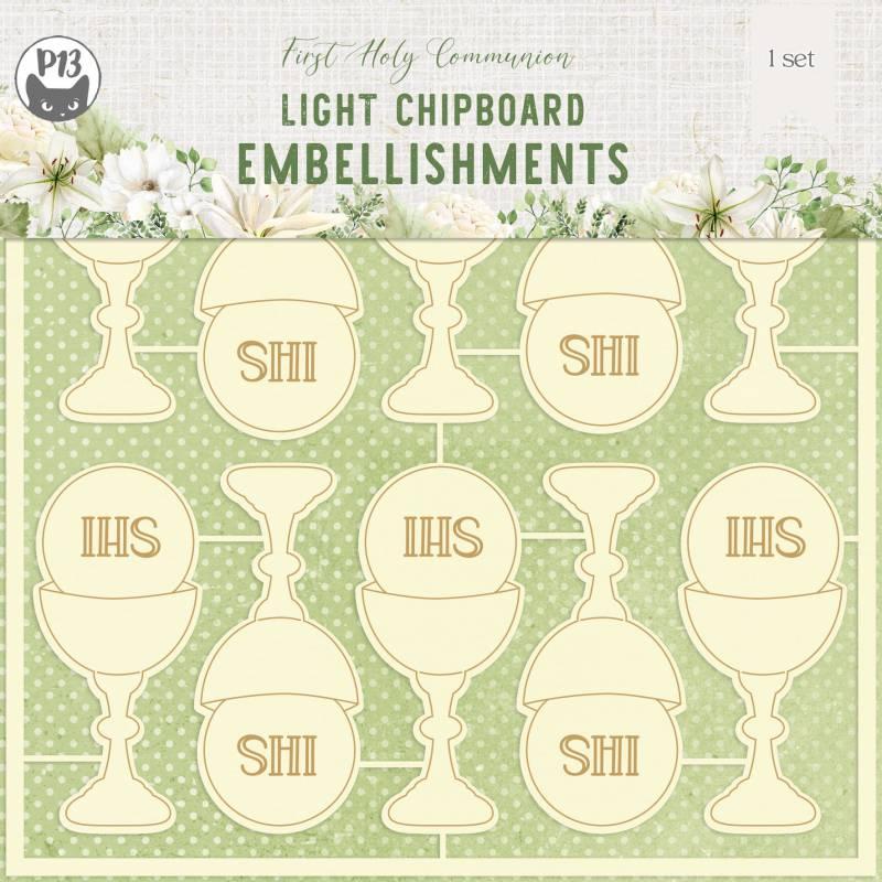 "Light chipboard embelishments First Holy Communion 02, 6x6"", 10pcs"