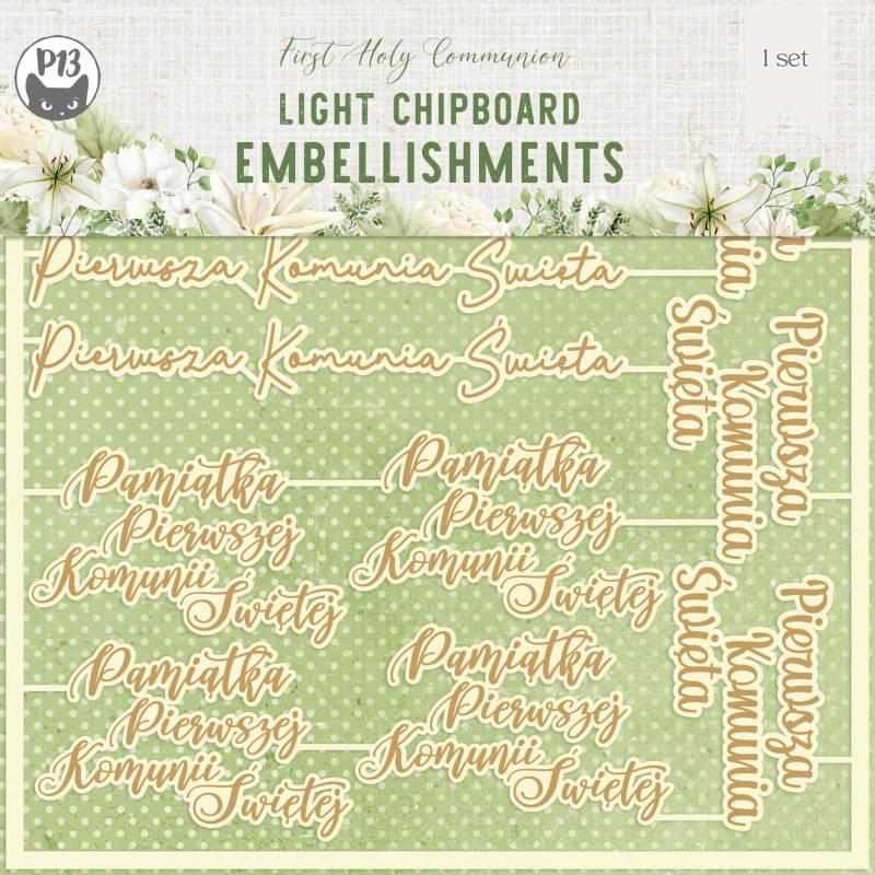 "Light chipboard embelishments First Holy Communion 03 PL, 6x6"", 11pcs"