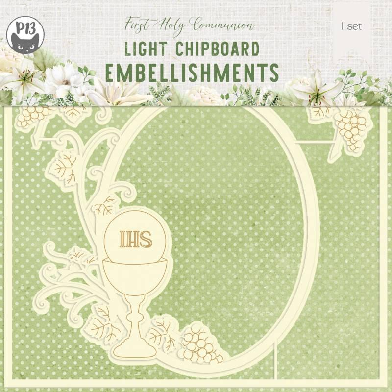 "Light chipboard embelishments First Holy Communion 04, 6x6"", 1set"