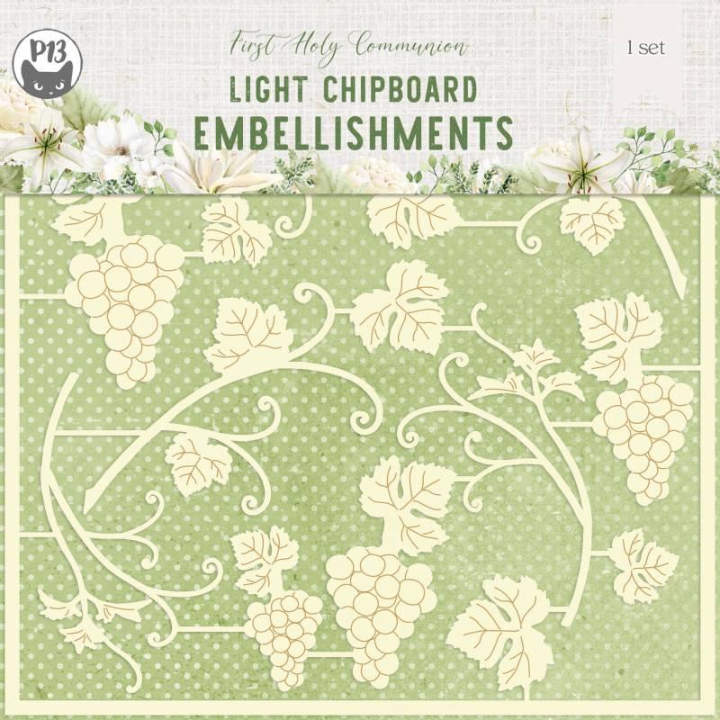 "Light chipboard embelishments First Holy Communion 05, 6x6"", 14pcs"