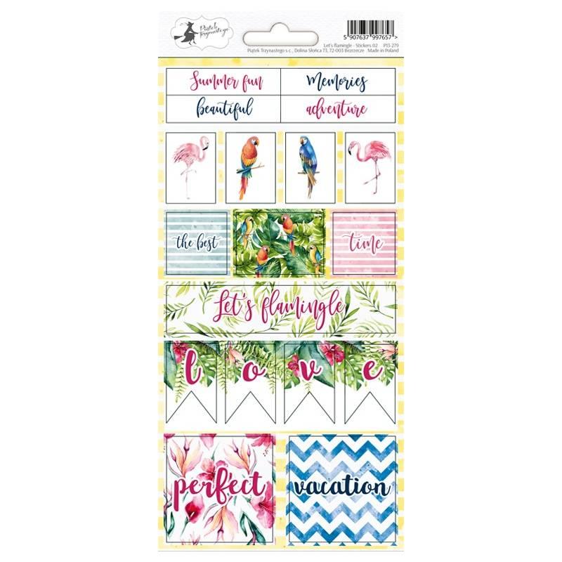 Sticker sheet Let's flamingle 02, 10,5 x 23cm