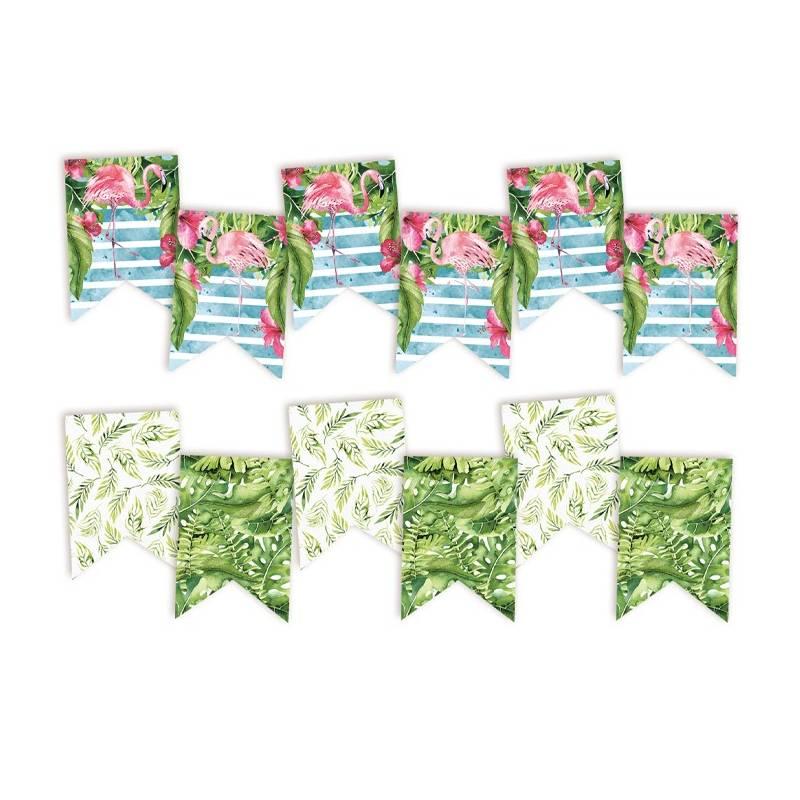 Banner/ die cut paper Let's flamingle, 6 pcs.