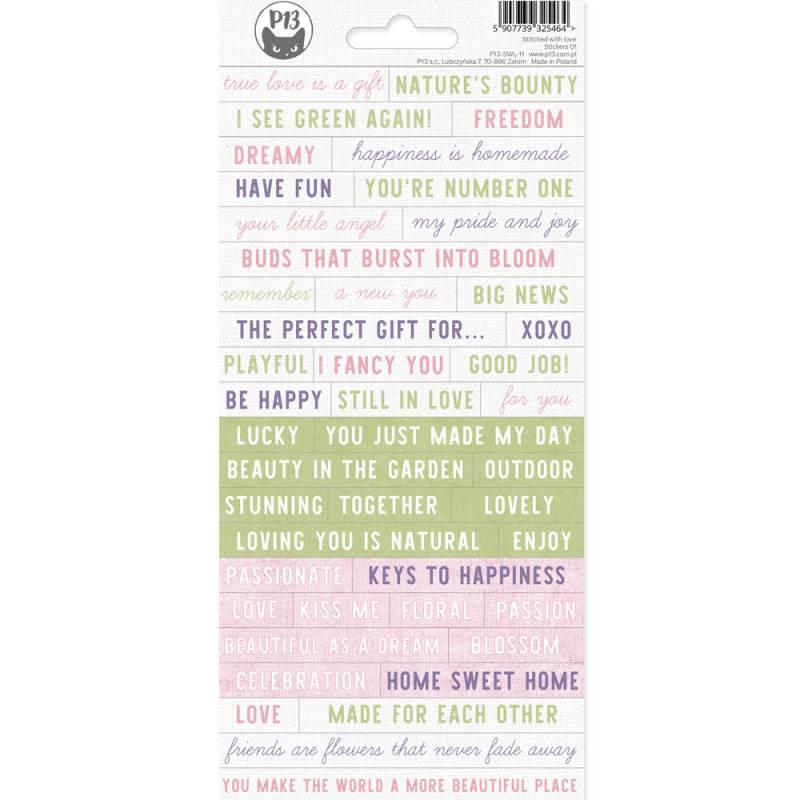 Sticker sheet Stitched with love 01, 10,5 x 23cm