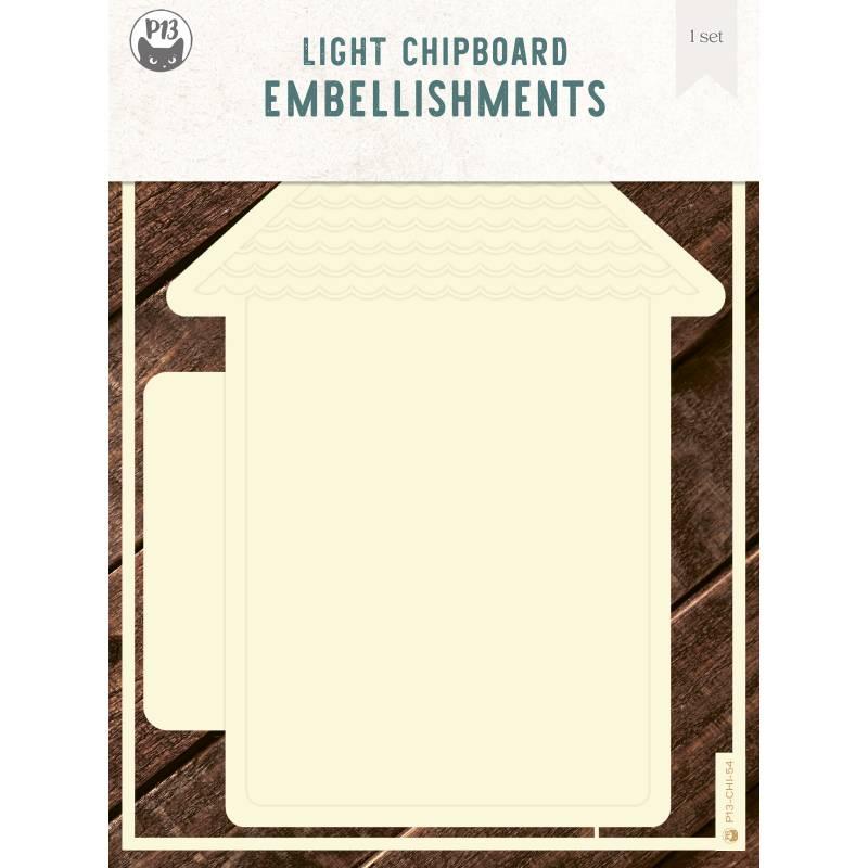 "Light chipboard album base House 01, 6x8"", 1set"
