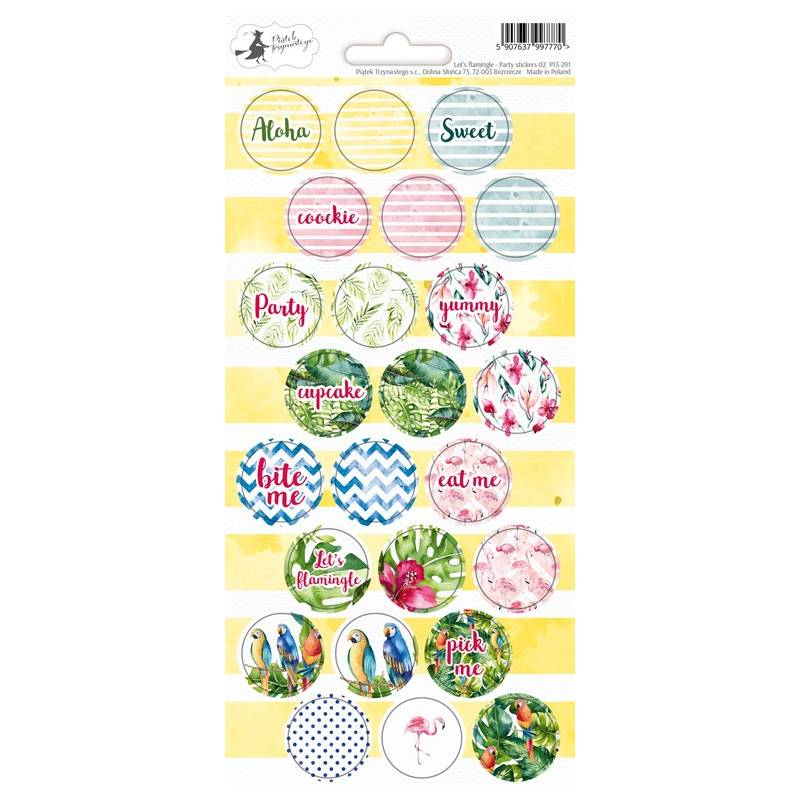 Party sticker sheet Let's flamingle 02, 10,5 x 23cm