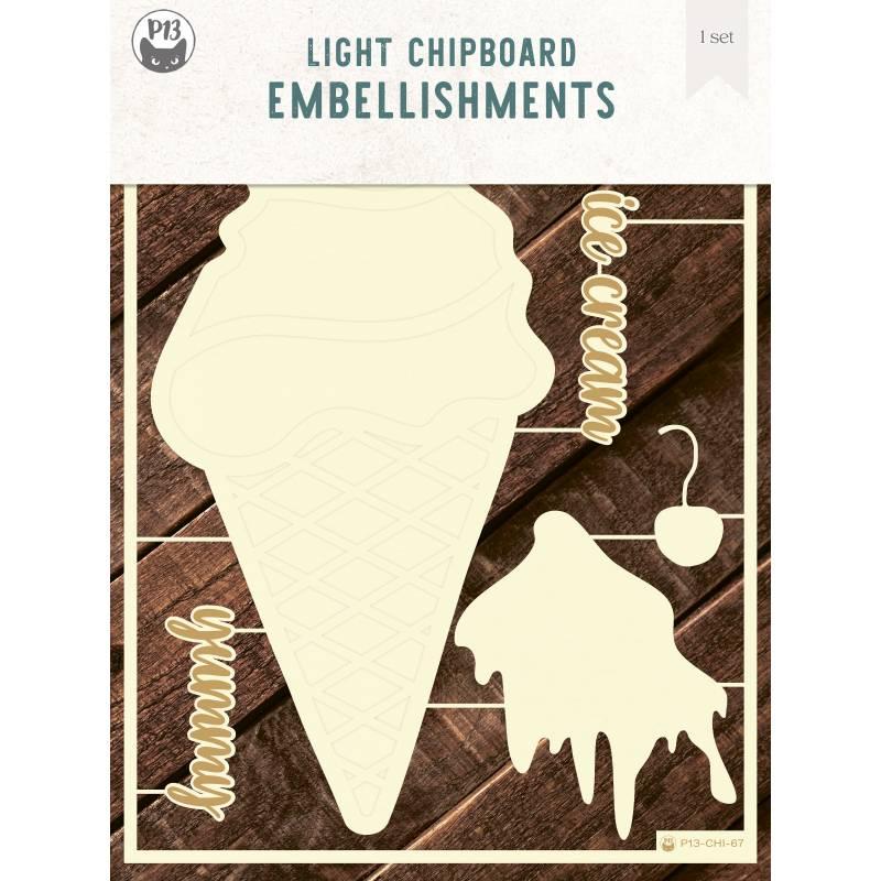"Light chipboard deco base Ice Cream, 6x8"", 1set"