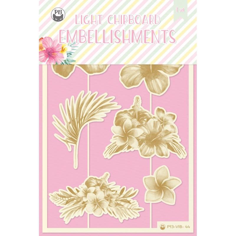 Light chipboard embellishments Summer vibes 01, 7pcs