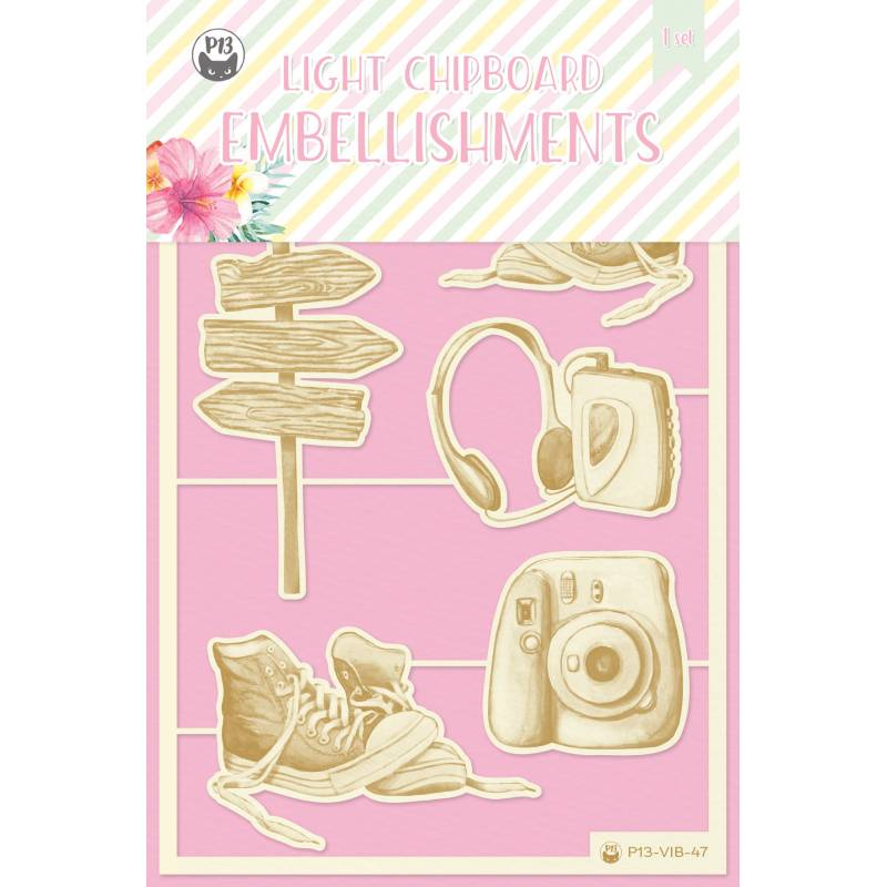 Light chipboard embellishments Summer vibes 04, 6pcs