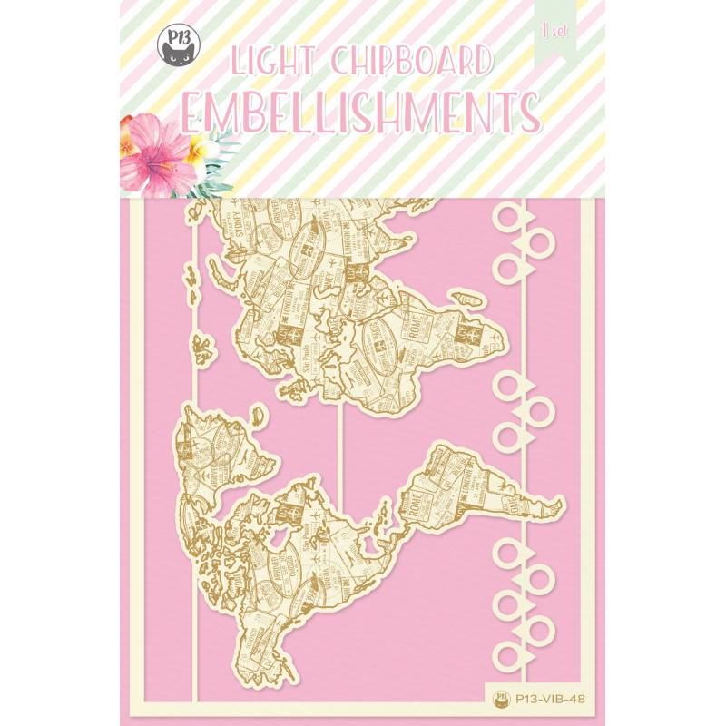 Light chipboard embellishments Summer vibes 05, 12pcs