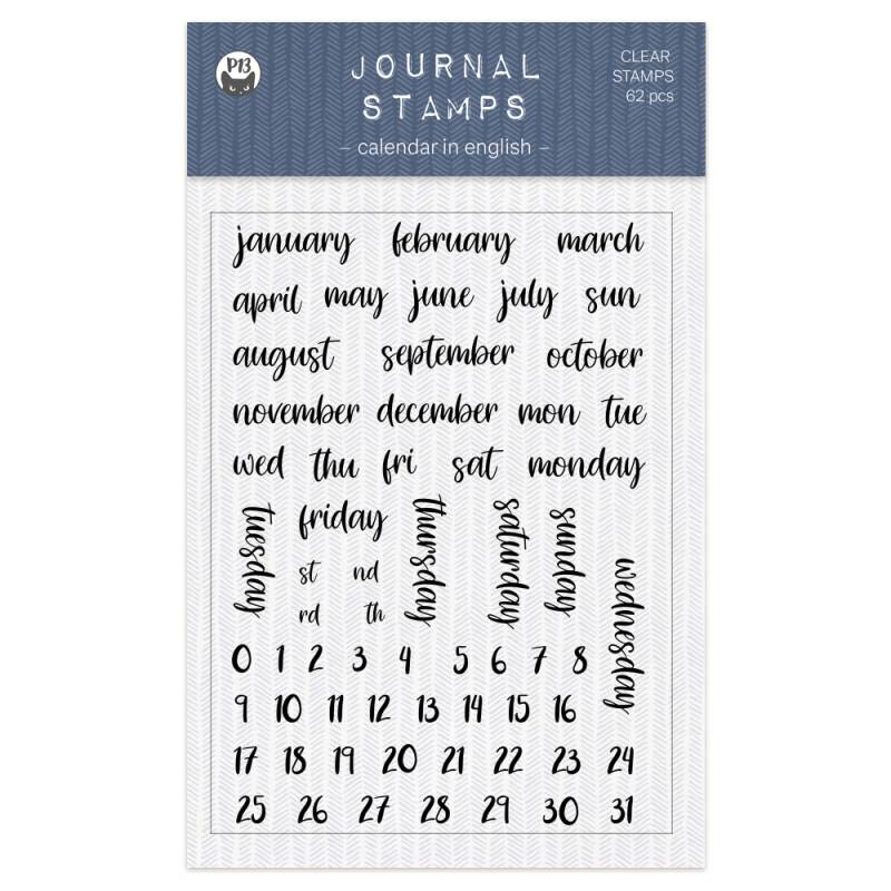 Clear stamp set Calendar ENG 01 A6, 62pcs