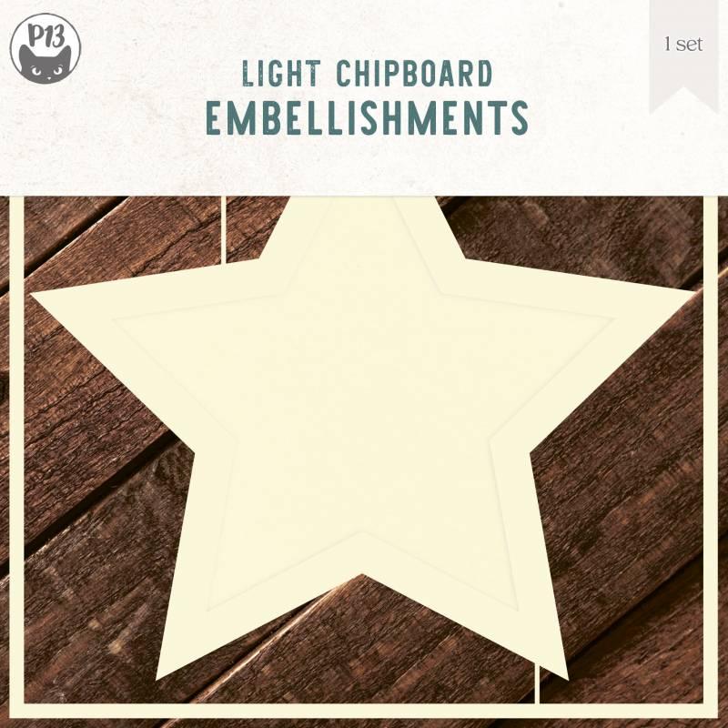 "Light chipboard deco base Star, 6x6"", 1set"