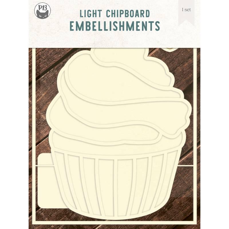 "Light chipboard deco base Cupcake, 6x8"", 1set"