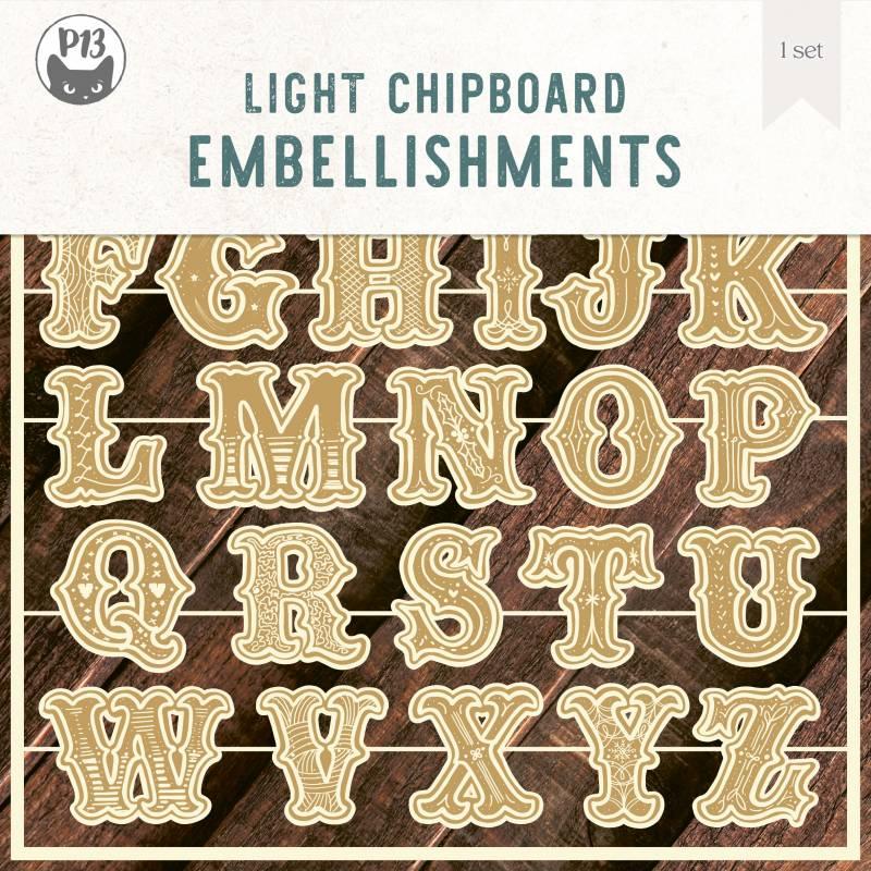 "Light chipboard embellishments Cookie Alphabet, 8x8"", 3sets"