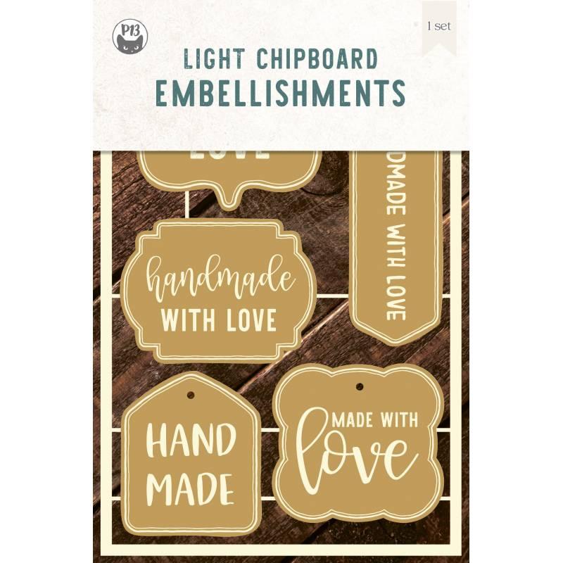 "Light chipboard embelishments Labels 01, 4x6"", 5pcs"