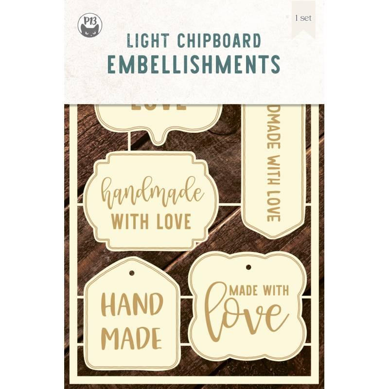 "Light chipboard embelishments Labels 02, 4x6"", 5pcs"