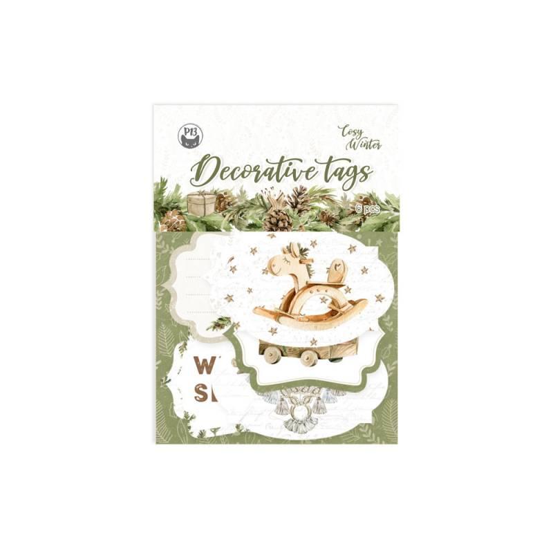 Decorative tags Cosy Winter 04, 6pcs