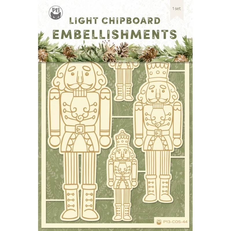 Light chipboard embellishments Cosy Winter 01, 4pcs