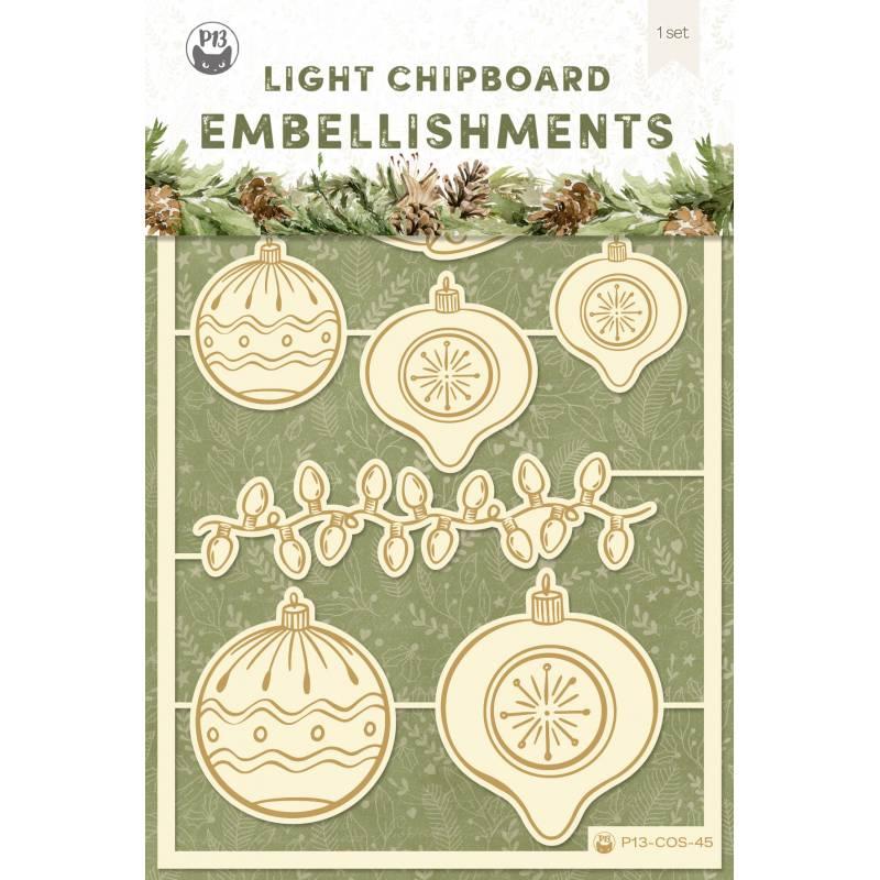 Light chipboard embellishments Cosy Winter 02, 7pcs
