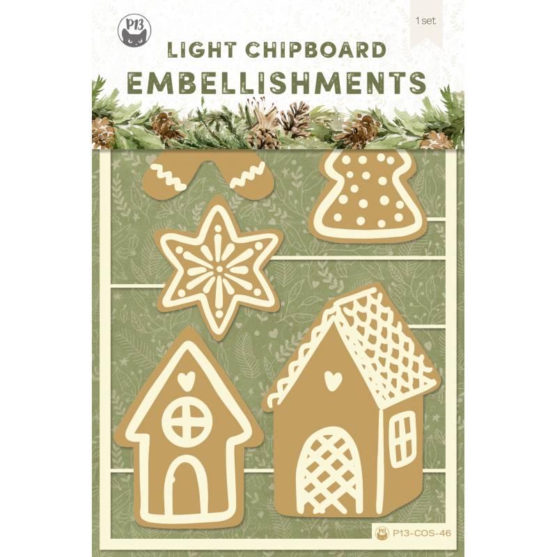 Light chipboard embellishments Cosy Winter 03, 5pcs