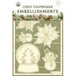 Light chipboard embellishments Cosy Winter 04, 6pcs