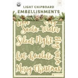 Light chipboard embellishments Cosy Winter 06 ENG, 8pcs