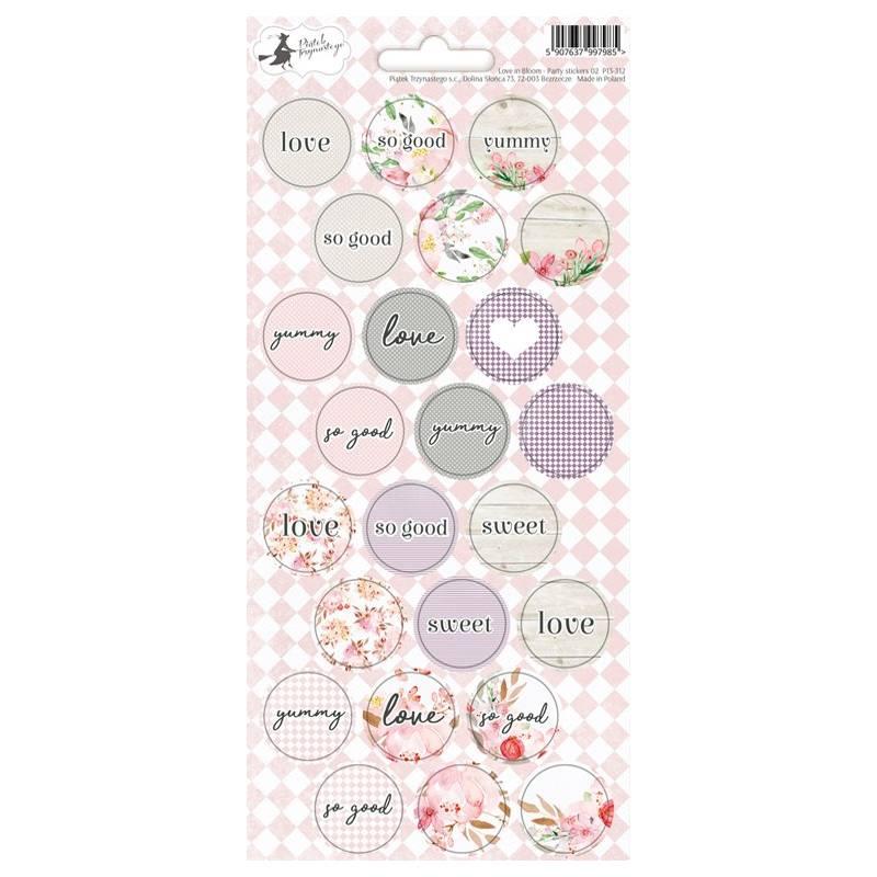 Party sticker sheet Love in Bloom 02, 10,5 x 23cm