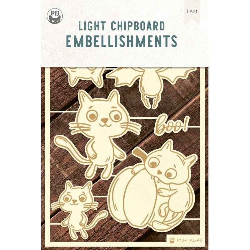 Light chipboard embellishments Happy Halloween 03, 6pcs