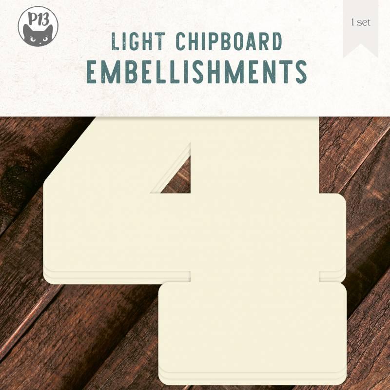 "Light chipboard deco base Numbers - 4, 8x8"", 3pcs"