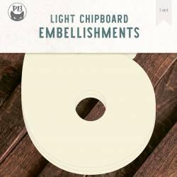 "Light chipboard deco base Numbers - 6, 8x8"", 3pcs"