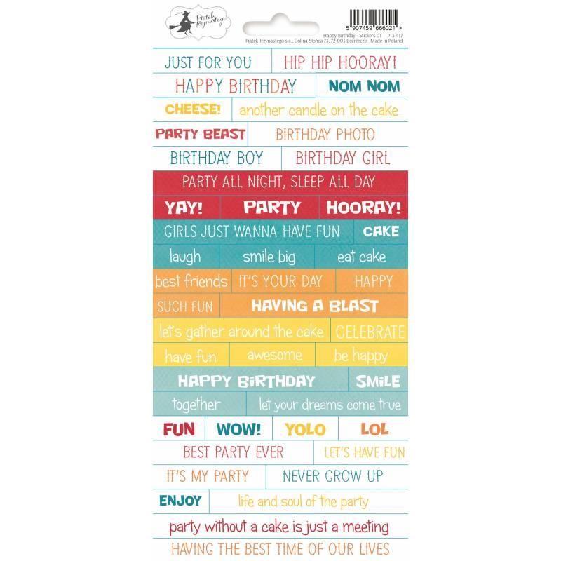 Sticker sheet Happy Birthday 01, 10,5 x 23cm