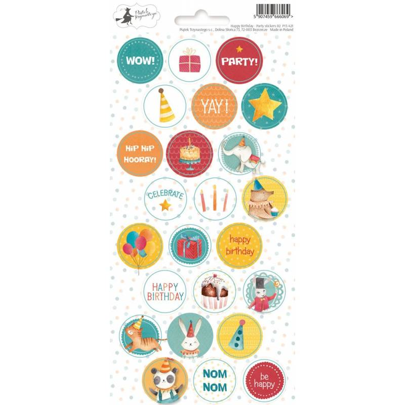 Party Sticker Sheet Happy Birthday 02, 10,5 x 23cm