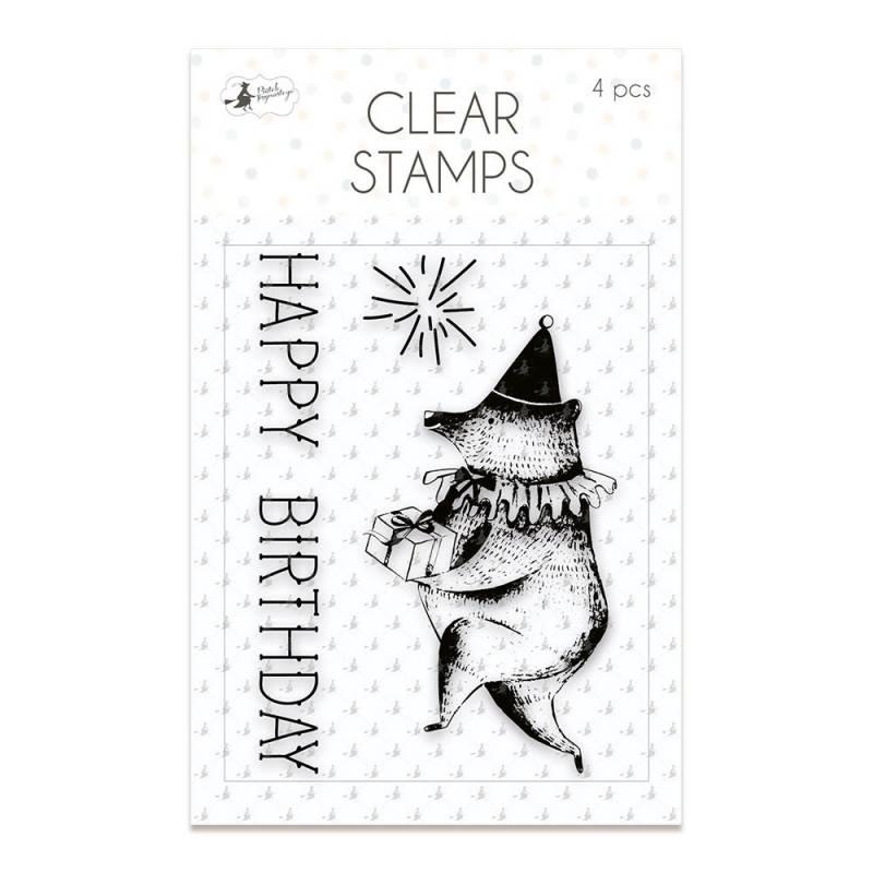 Clear stamp set Happy Birthday 01, 4 pcs.