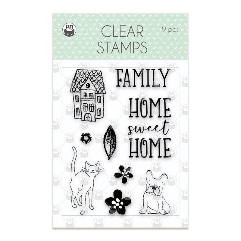 Clear stamp set We are family 01, 8 pcs.